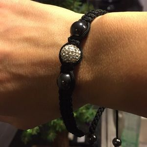 Bracelet, with silver and black beads