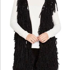 Fabulous Black Shag 3\4 Long Vest OS