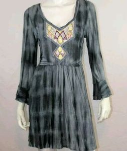 Free people tiedyed dress w/embroidered neckline M