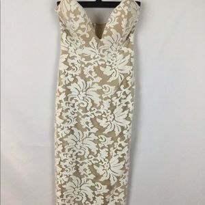 Abyss XS Cream and White Floral Print Dress