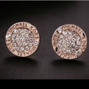 Michael Kors gold and crystal pave earrings