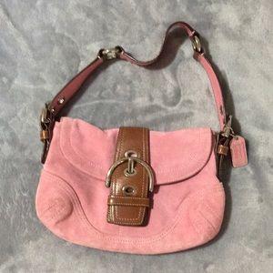 Pink coach purse suede