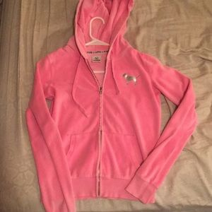 VS PINK velour full zip hoodie