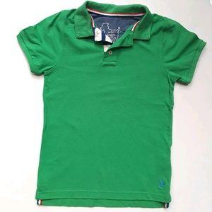 Mini Boden Boys Polo Shirt Top Green Pique Cotton