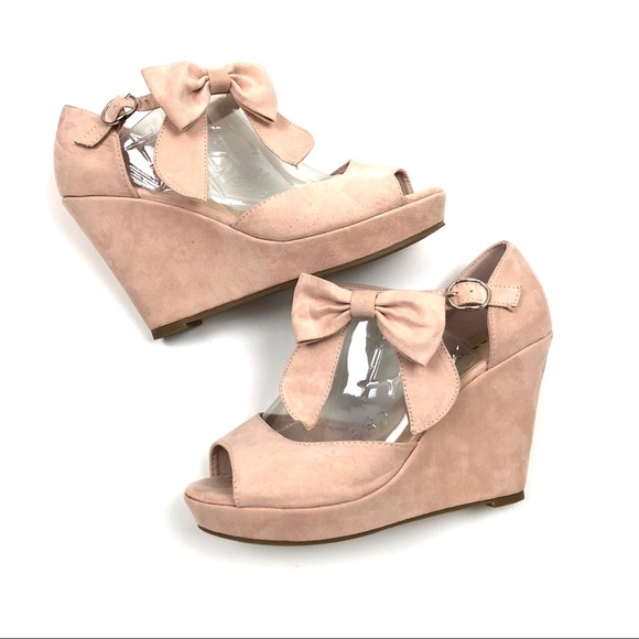 Torrid Wedges Pink Suede Ankle Bow Size