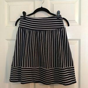 Black and white striped mini skirt.