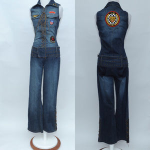 J Lo S Jean Sleeveless Jumpsuit Romper, lace up
