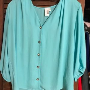 Francesca's turquoise blouse with pearl buttons