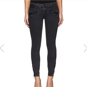NEW Current Elliot Moto Zip Denim Jeans gray black