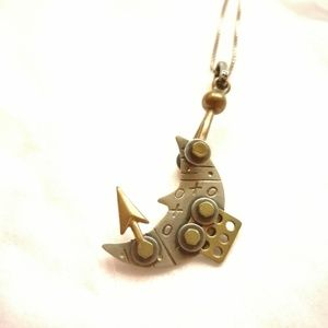 Clockwork artisan made moon pendant
