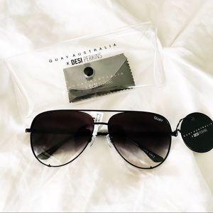 QUAY x DESI High Key Aviator Sunglasses Black
