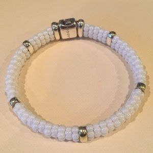 Lagos white ceramic and 18k gold bracelet