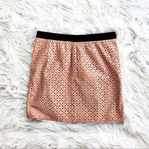 Loft pink eyelet mini skirt