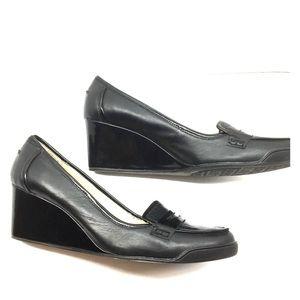 Ellen Tracy Loafer Wedge Heel Black Leather Sz 9.5