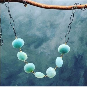 Amazonite item necklace with black silver chain