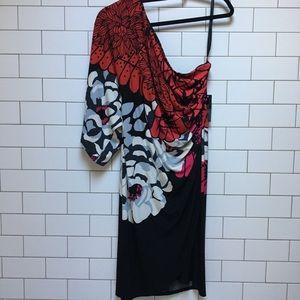 Bisou Bisou // one shoulder black and floral dress
