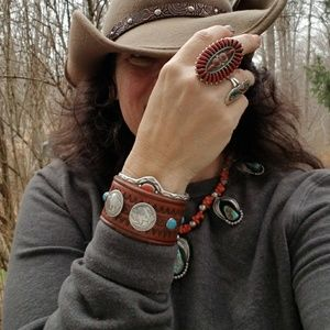 Buffalo Nickel Turquoise Studded Leather Cuff