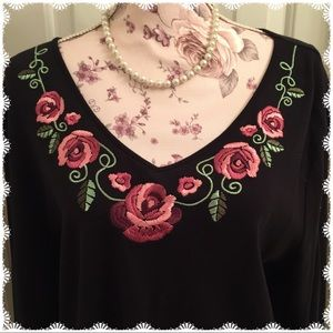 Rose Embroidered Top by Karen  Scott