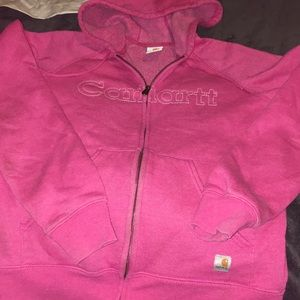 Pink carhartt zip up hoodie