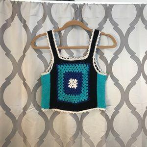 Metallic Crochet Sparkle Crop Top Boho Tank LF