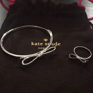 Silver Kate Spade Bow Ring and Bracelet Set