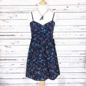 {PARKER} NWT Blue & Red Floral Sundress Lace Up