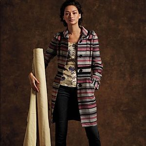 Anthropologie Elevenses Bow Striped Winter Coat 10