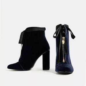 Zara Velvet Tie and Zip Navy Booties