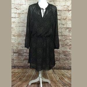 Ralph Lauren Long Sleeve semi Sheer Black Dress 10