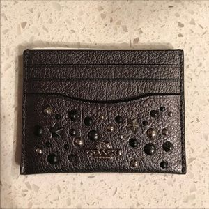 Coach Leather Cardholder with studs