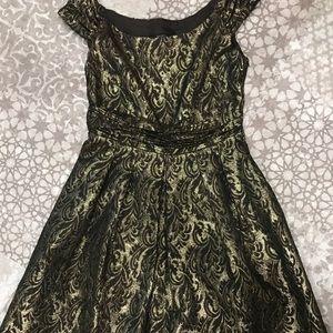 Gold brocade cocktail dress
