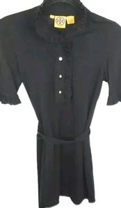 Tory Burch Black Ruffle Neck & Sleeve Belted Knit