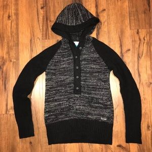 Columbia Hooded Button Up Sweater Wool Blend