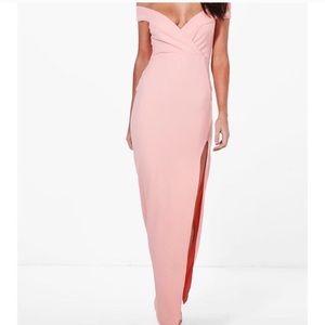 Gorgeous off shoulder formal dress: Pearl/Pink