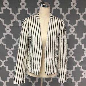LOFT open front stripe blazer 100% linen