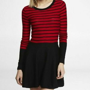 EXPRESS Red and Black Striped Skater Dress