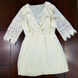 Tobi Lace Sleeve Chiffon Dress