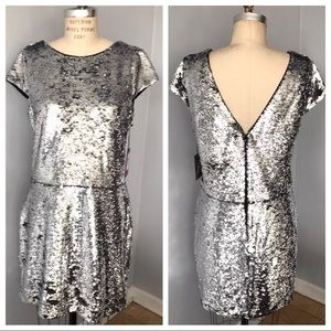 NWT Vince Camuto Silver Sequin Mini Dress
