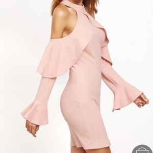 Pink cold shoulder mini dress ruffles NYE