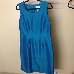 Sleeveless iridescent teal blue green size 8 dress