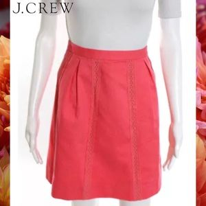 J CREW Chic Coral Lace Detail Pleated A-Line Skirt