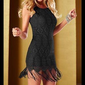 Venus Black Fringe Hem Dress