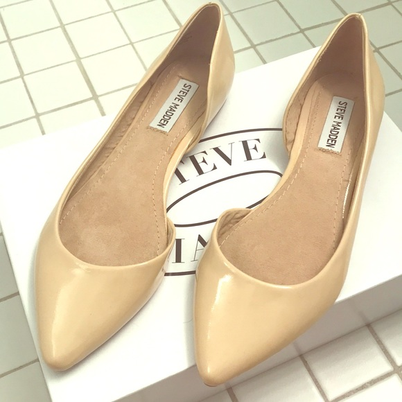 3ddfcf5e252 Steve Madden Elusion Patent Leather Nude Flat