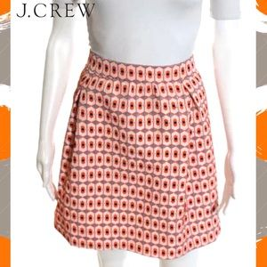 J CREW Perfect Orange/Gray Abstract A-Line Skirt