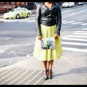 ASOS Full Midi Skirt in Cotton - Chartreuse