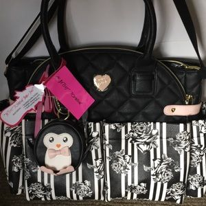 Betsey Johnson Diaper Bag Penguin Pacifier Holder
