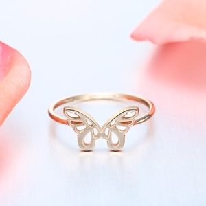 14K Gold Hollow Butterfly Charm Dainty Ring