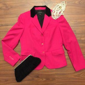 Talbots Hot Pink Velvet Collar Blazer Jacket Sz 8