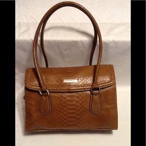 NWOT Liz Claiborne tan croc print leather look bag