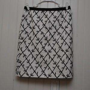 Talbots Skirt SZ 8 Lined Black White Bamboo Print